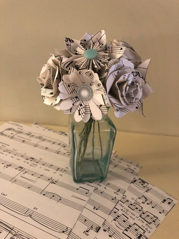 Music and lyrics paper flower bouquet etsy music and lyrics paper flower bouquet mightylinksfo