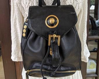 47b00b4361 Vintage GIANNI VERSACE 90 s Black Leather BACKPACK Rucksack Travel Purse  School Bag Tote Gym Satchel Bookbag Rucksack Medusa Sun Medallions