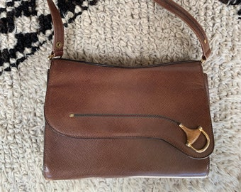 3cfb6a35597 Vintage GUCCI Micro GG Horsebit Web Monogram Brown Supreme Sherry Line 2  Way Leather Crossbody Two way shoulder Bag purse handbag satchel