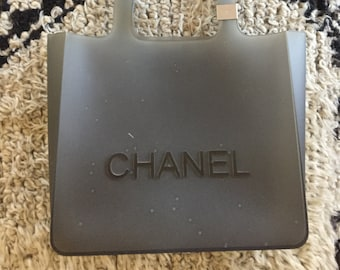3f4feae2461 Vintage CHANEL Grey Gray Rubber Gummy Jelly Tote Bag Purse Gym Bag Shopper  Shoulder Bag Handbag