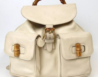 7d325c816ee Vintage 90s GUCCI White Cream Beige Large Leather drawstring Bamboo Top  Handle backpack book bag bookbag rucksack travel shoulder Crossbody