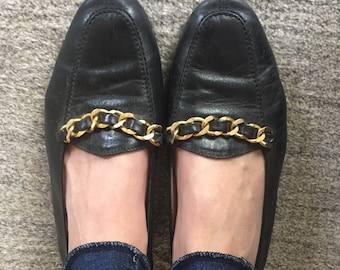 a4e4310aa75 Vintage CHANEL 93A Black Gold Braided Chain Leather Loafers Flats Driving  Shoes Smoking Slippers Ballet Flat 41 us 9.5 - 10
