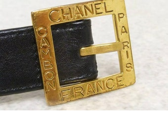 aa706c994c8e10 Vintage CHANEL CC Logo Gold Black Leather High Waisted Chunky Ornate Waist  Charm Belt Buckle Jewelry