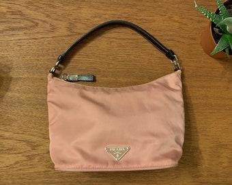 138cee4c425f Vintage PRADA Pink Pochette Handbag Small Top Handle Bag Nylon Travel Purse  Satchel belt