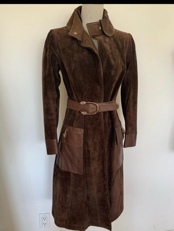 Vintage Gucci 70's Brown Suede Coat - image 1