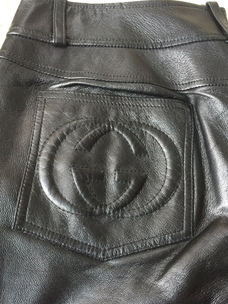 f2a7d0a4cc99 Vintage GUCCI Wide Flared Leg Black Leather GG Monogram Low | Etsy