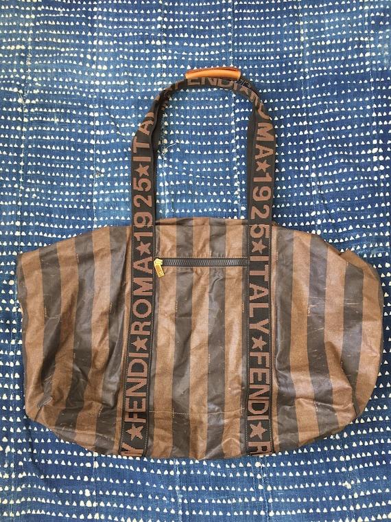 Rare FENDI Roma 1925 Monogram Pequin Stripe Coated Canvas   Etsy 02736e7dc0