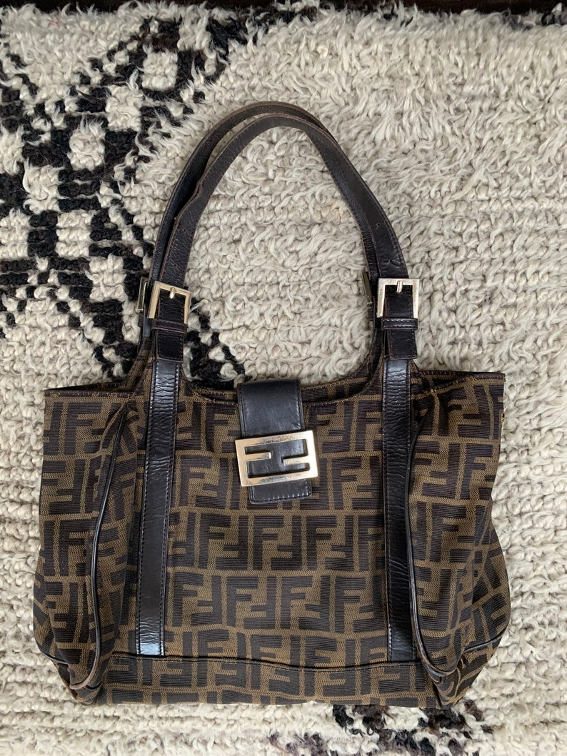 a23f27e71046 Rare FENDI Zucca Monogram Brown Black Coated Canvas Handbag