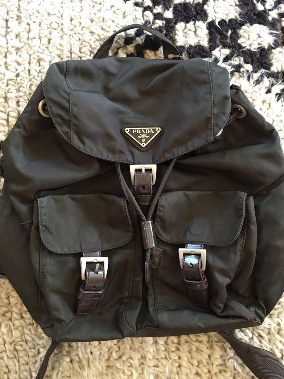 d604422352d5 Vintage PRADA Brown Black BACKPACK Rucksack Travel Purse   Etsy