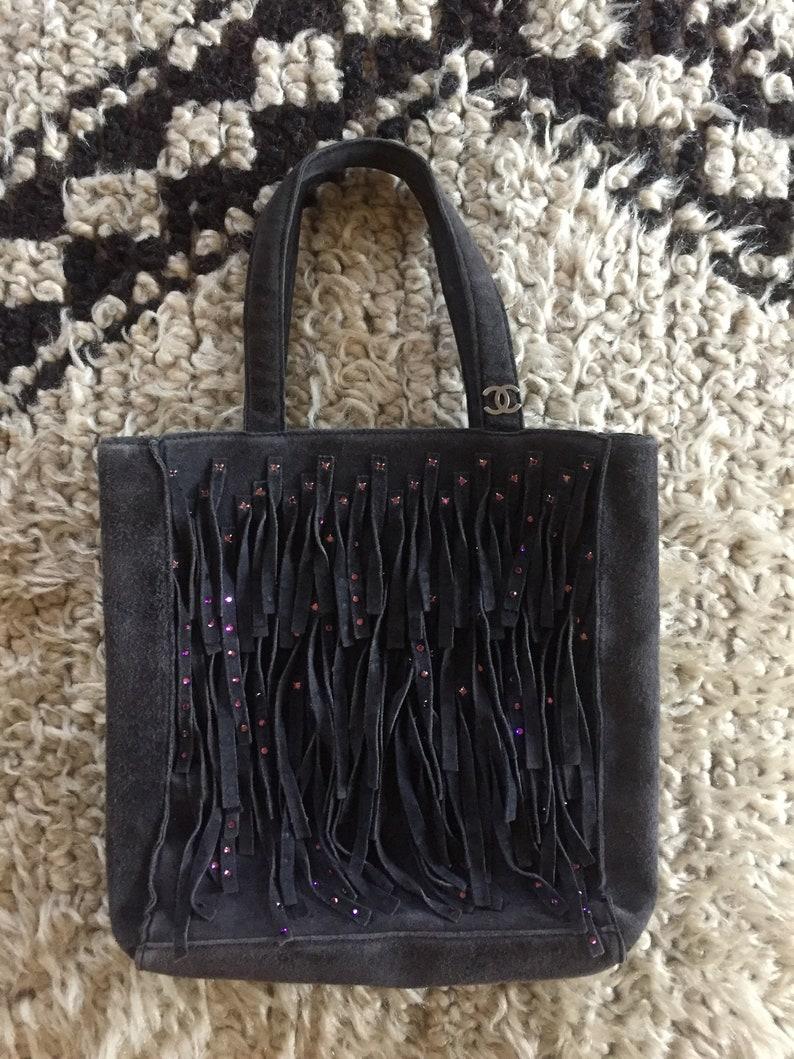7a0f4ee9f82f Vintage CHANEL CC Logo Suede Fringe Tote Bag Rhinestone Tassel | Etsy