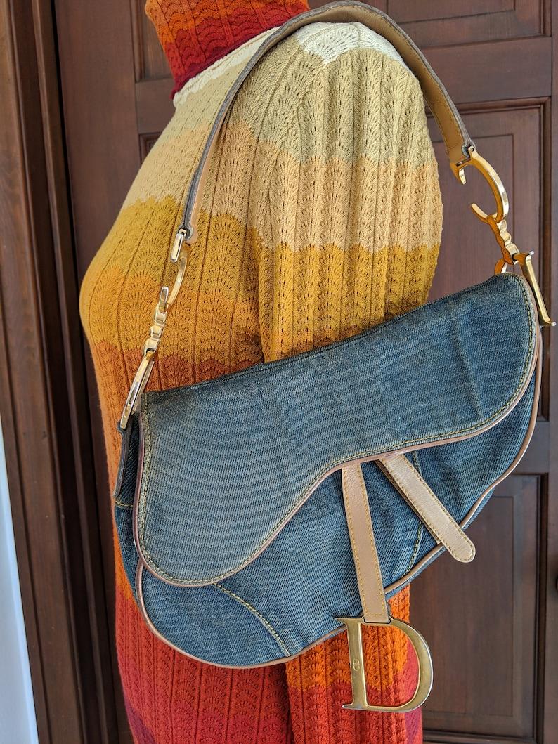ff1cdcc1bf5b Vintage Christian Dior Logo Denim Moram Canvas Saddle Bag Tan