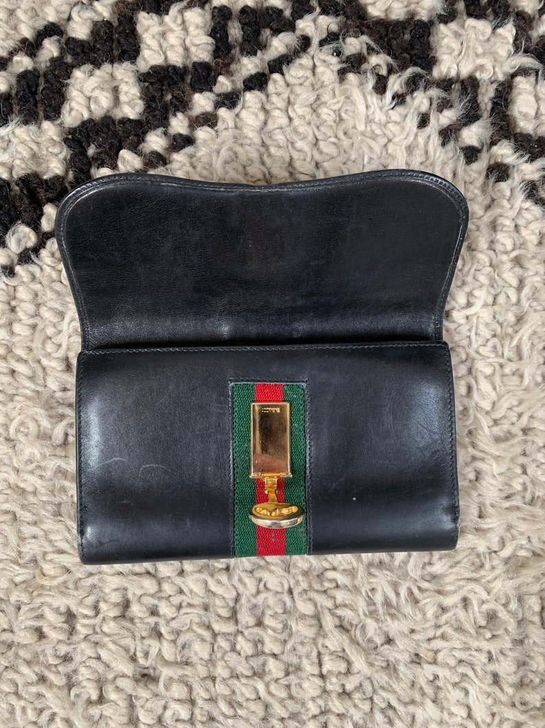 71a1197b491a8 Vintage GUCCI GG Logo Black Leather Horsebit Clasp Web Sherry Line Striped  Supreme Snap Button Closure Wallet Card Holder Coin Case Purse
