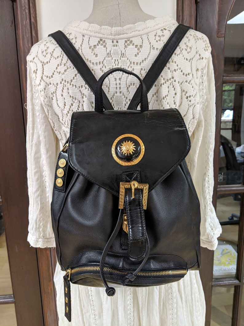 a7f4fb4df4 Vintage GIANNI VERSACE 90 s Black Leather BACKPACK