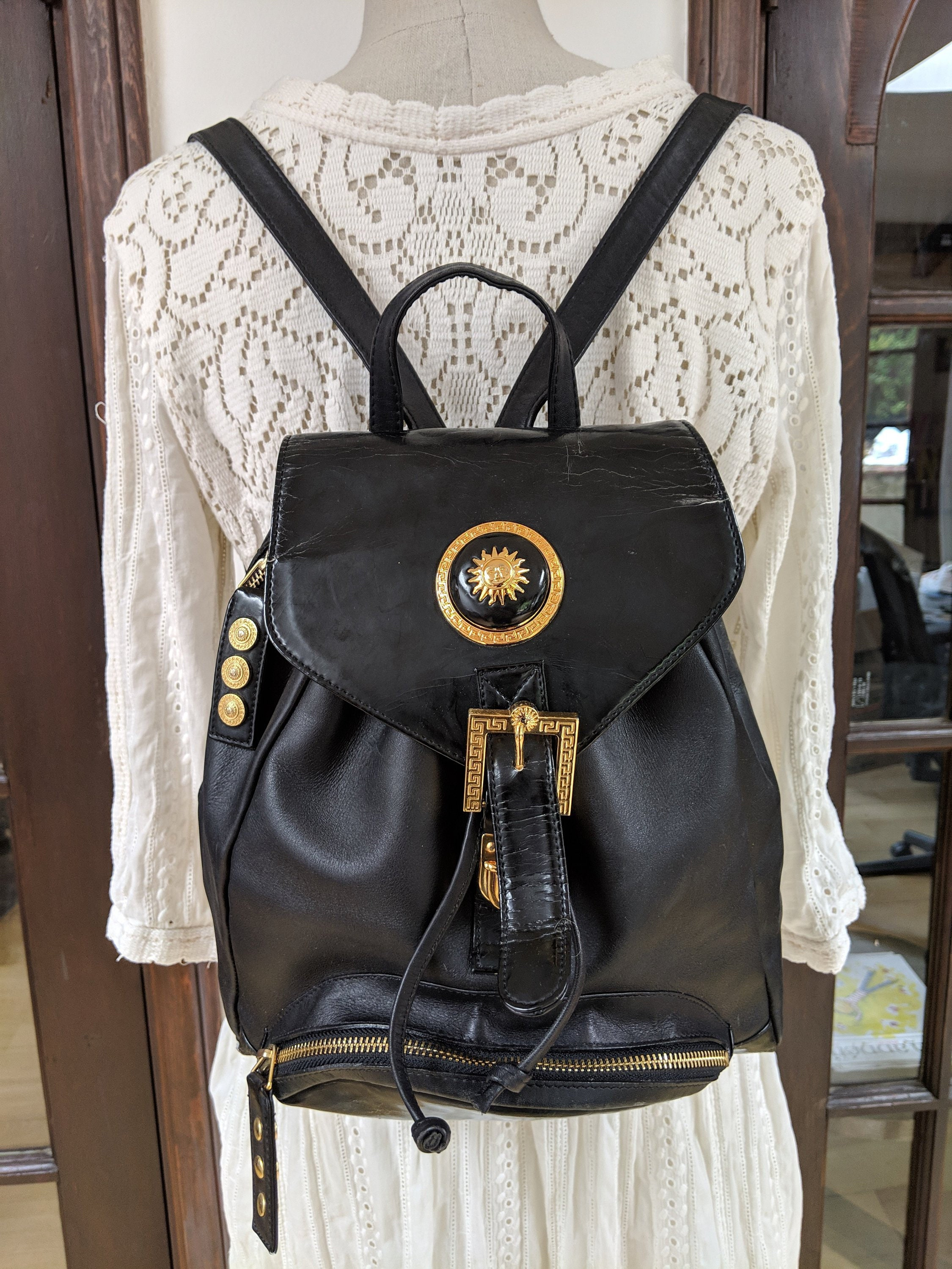 Vintage GIANNI VERSACE 90 s Black Leather BACKPACK  c5f5082e3035b