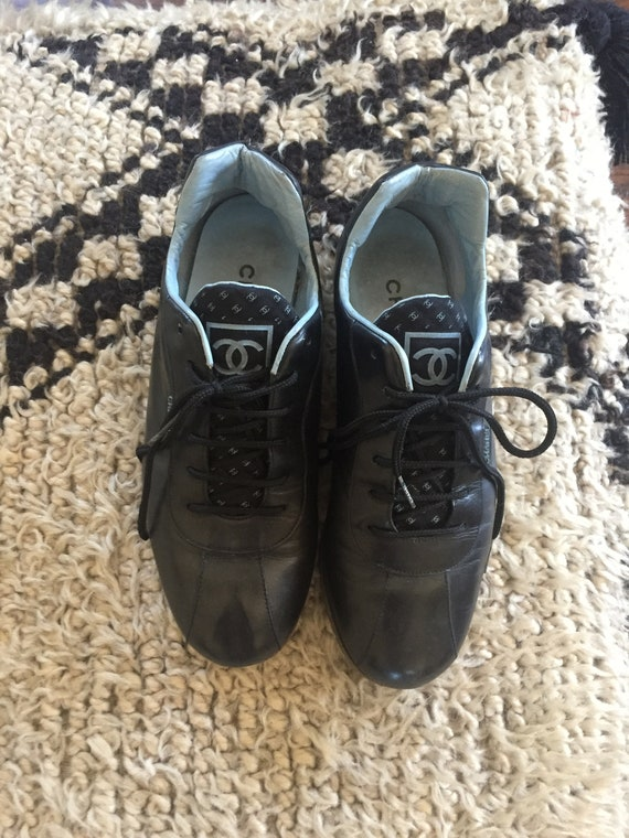 9c1f88e4f13ef Vintage CHANEL CC Logo Black Blue Leather Sneakers Trainers