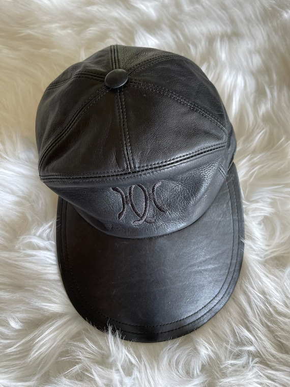 Vintage Hermes Black Leather Hat