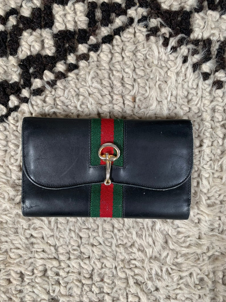 9450c2f76cc27 Vintage GUCCI GG Logo Black Leather Horsebit Clasp Web Sherry Line Striped  Supreme Snap Button Closure Wallet Card Holder Coin Case Purse