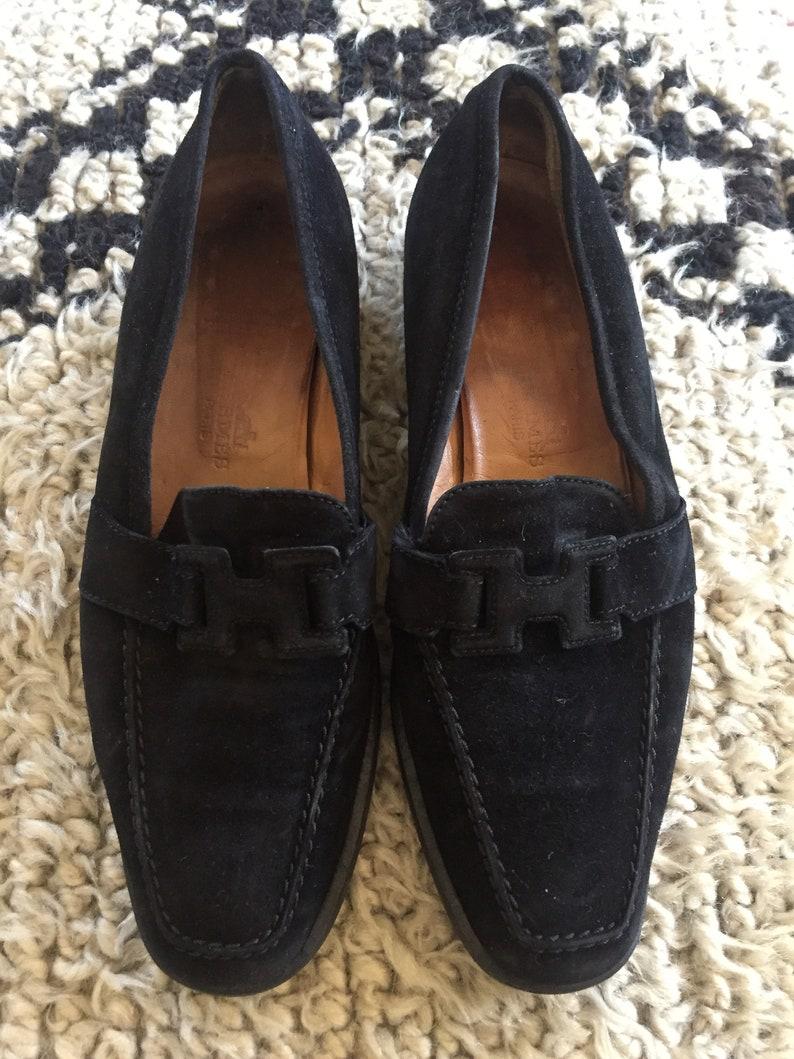 45ee4d14394 Vintage HERMES H Logo Black Suede Leather Loafers Flats
