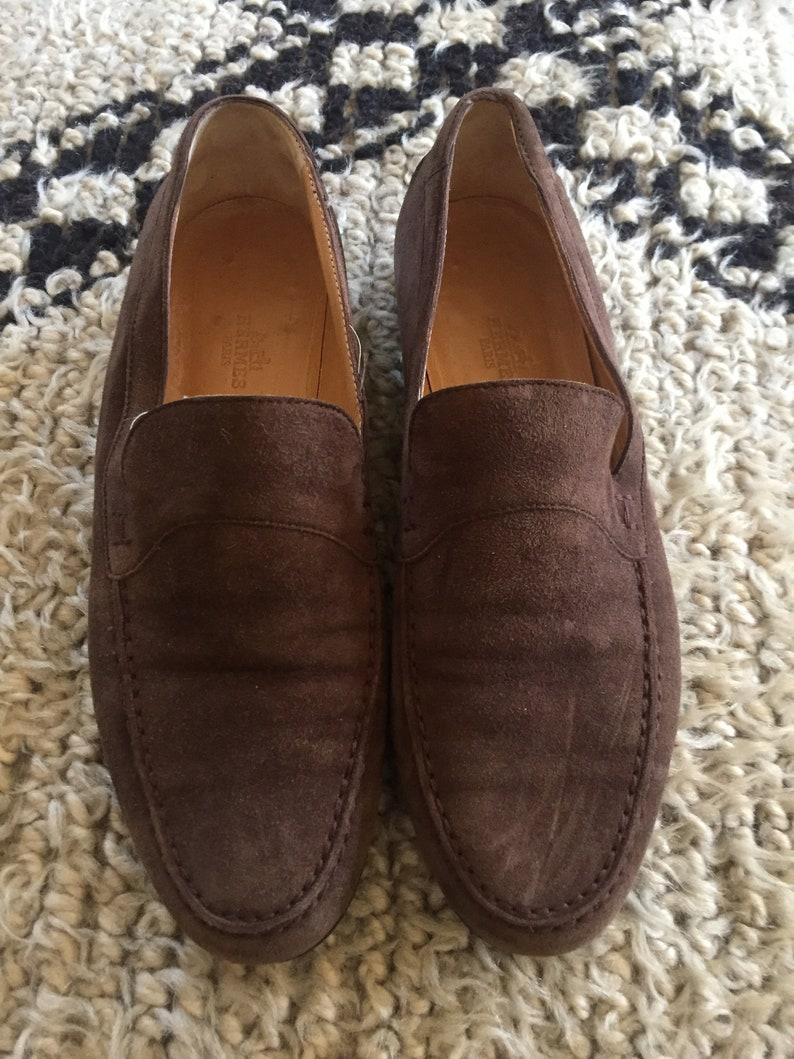 53c737bd6fe Vintage HERMES H Logo Brown Suede Leather Loafers Flats