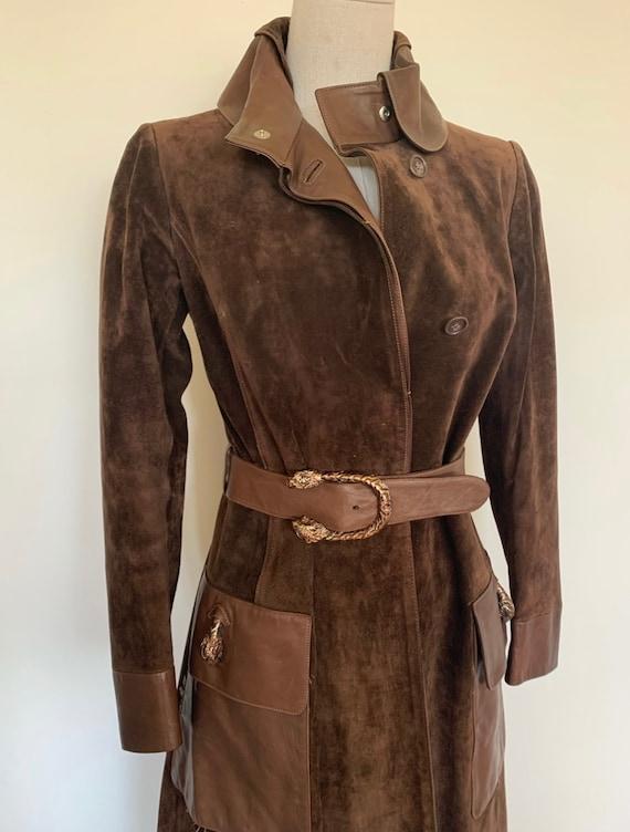 Vintage Gucci 70's Brown Suede Coat - image 2