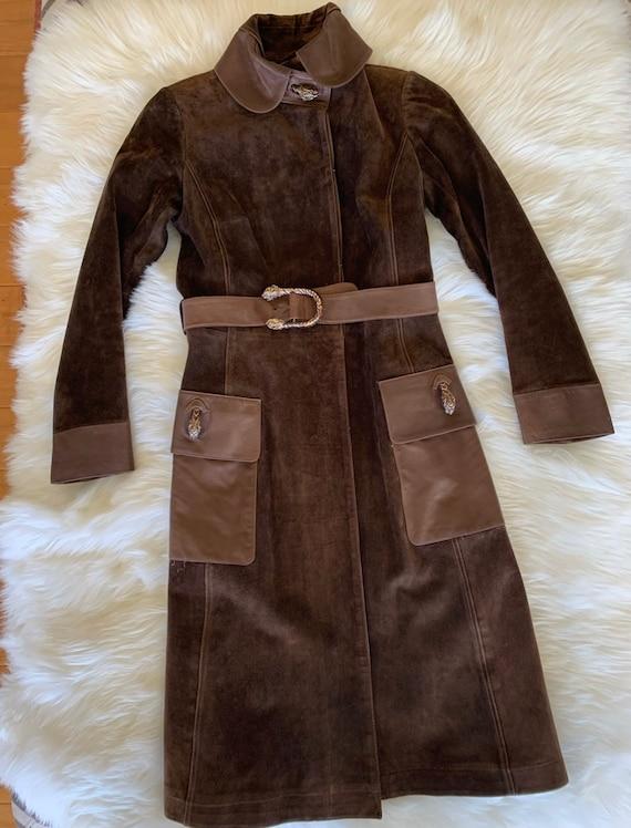 Vintage Gucci 70's Brown Suede Coat - image 6