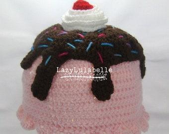 Ice Cream Sundae Crocheted Novelty Hat