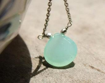 Chrysoprase Necklace, Natural Chrysoprase Gemstone, mint Chrysoprase Necklace,Chrysoprase heart Pendant necklace, Sterling silver necklace
