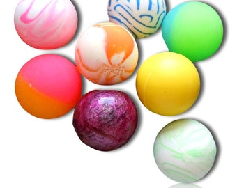w Assorted Marbled Swirls Pearl Abstract Neon Vibrant Mixed Lot Style Mid-Size Super High Bouncy Balls Multicolor {27mm} 250 Bulk Pack