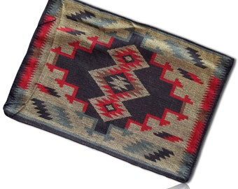 White Black Southwestern Striped Mexican Native American Geometric Aztec Style Simple Fringed Shapes Blanket Table Placemat Set of 4 Red
