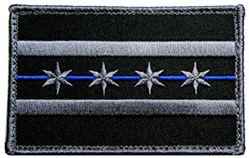 1 of Hook and Loop Fastener Patch w Armed Forces Military Chicago Illinois Police Flag Badge Black, Blue 3.5 x 2.2 Inches Custom Made
