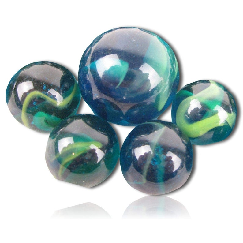 Green, Blue w 1 Shooter Custom {58 /& 1 Inch} 25 Mid to Big-Size Glass Marbles w Cool Artistic Striped Clear Translucent Vintage Style