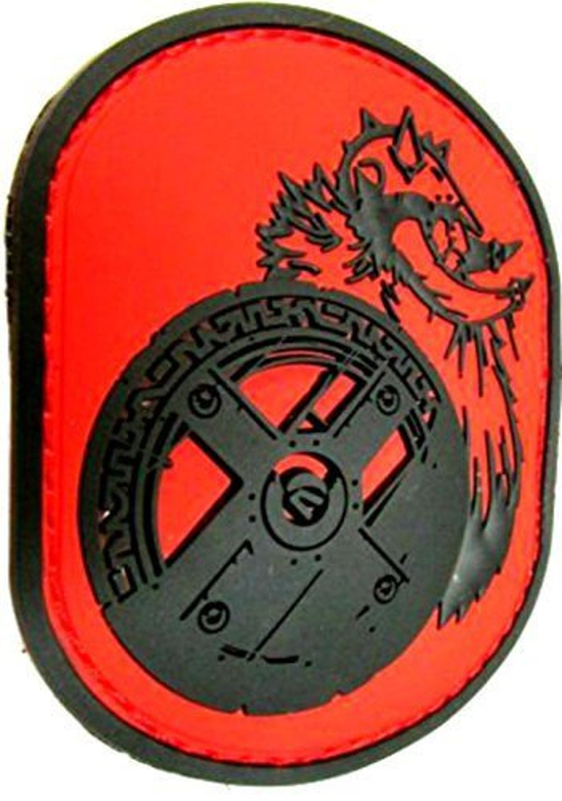 Custom Made 3.2 x 2.6 Inch 1 of Hook and Loop Fastener Patch w Berserker Barbarian Viking Nordic Warrior King Ancient Badge Black Red
