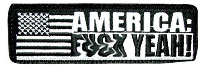 Custom Made 4.5 x 1.5 Inches 1 of Hook and Loop Fastener Patch w Team America Movie US Flag Patriotic Fuck Yeah Text Black, White