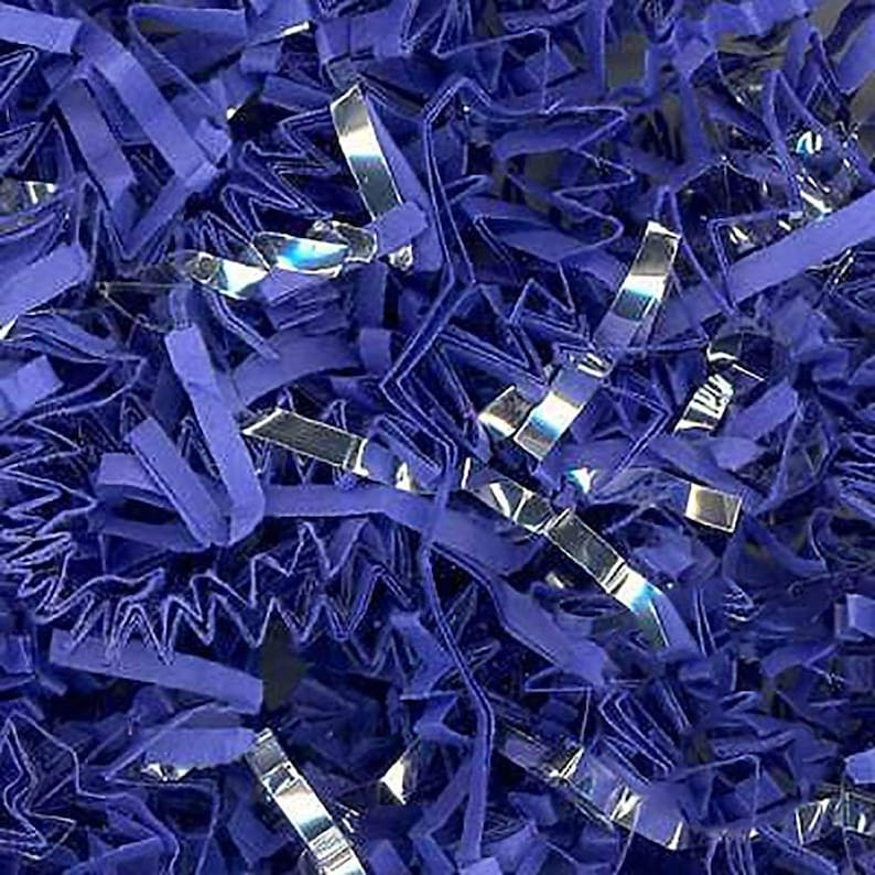 Custom /& Unique {8 Ounces} of Blue Silver ZigZag Crinkle Cut Deep Nautical Masculine Metallic Mix Style Shredded Gift Basket Filler Paper