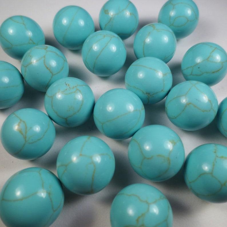 Teal Custom {0.63 Inch} 1 Single Mid-Size \u201cRound\u201d Green Turquoise Marbles w Handmade Gem Jewelry Veining Pattern Polished Certificate