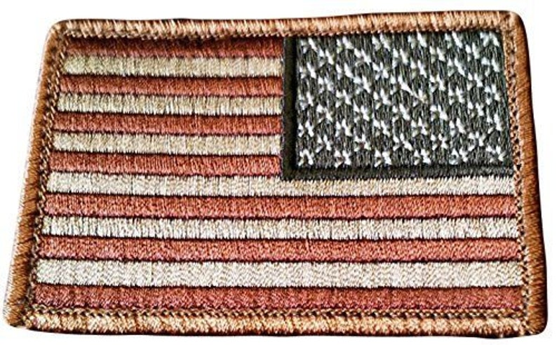 Blue, Red 1 of Hook and Loop Fastener Patch w Patriot Rustic National American Flag Stars and Stripes Design 3 x 2 Inches Custom Made