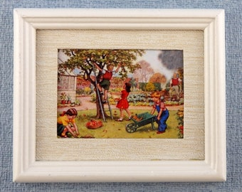 Melody Jane Dolls House Miniature Cherub /& Birds Nest Painting Gold Frame