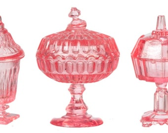 Dolls House Red Dish /& Vases Miniature Chrysnbon Ornaments Dining Room Accessory