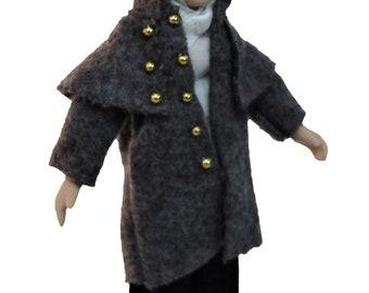 Dolls House Victorian Gentleman in Coat Miniature Porcelain People