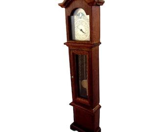 Dolls House Walnut Working Quartz Victorian Grandfather Clock Miniature 1:12