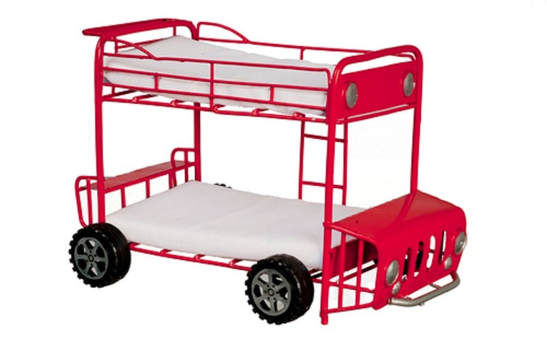 Dolls house light oak bedroom furniture set with bunk bed 1:12 scale
