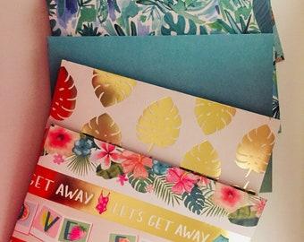 Tropical Handmade Envelope Set, Pattern Paper Stationery Set, Beautiful Greeting Card Mailer, Snail Mail, Junk Journal, Planner Supplies