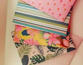 Tropical Handmade Envelope Set, Pattern Paper Stationery Set, Beautiful Greeting Card Mailer, Snail Mail, Junk Journal, Planner Accessories