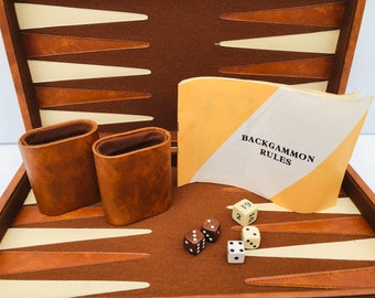 Vintage, Backgammon, Complete Set in Travel Case, Brown and Ivory, Faux Leather Backgammon Game with Original Rules, Game Night, Collectible