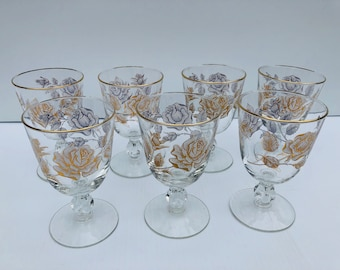 Vintage, Libbey Glass, Rose Bouquet,  Wine Glasses, Set of Seven, Stemware Glasses with White and Gold Roses & Gold Rims, 1960 Cocktail Set