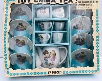 Vintage, Children's Tea Party Set in Original Box, Complete, 17 Piece, Doll Tea Set, Miniature, China Tea Set, Japan, Boy & Girl Pattern