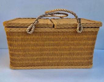 Vintage, Redmon Picnic Basket, Large, Wicker Basket with Rope Handles, Braided Trim, Double, Square Top, Opening and Wooden Bottom