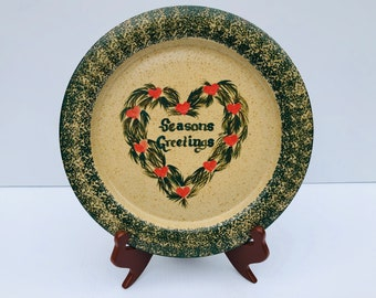 Vintage, Three Rivers Pottery, Christmas Platter, Rare, Seasons Greetings, Hand Painted Stoneware Platter, Christmas Gift, Collectible