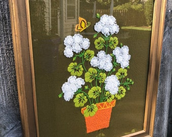 Vintage, Crewel Art, Flowers in Pot, Custom Framed, Behind Glass, Rare, Exquisite, Crewel Floral Picture with Butterfly, Pristine Condition