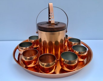 Vintage, Set of Nine Copper Cups With Large Copper Tray And Copper Ice Bucket With Matching Copper Tongs, 11 Piece Cocktail Set